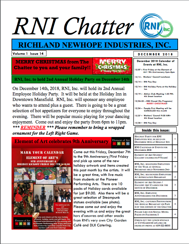 RNI Chatter December 2018 Edition